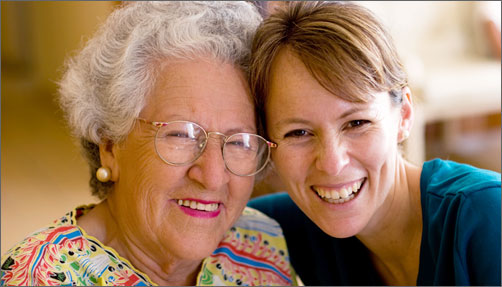 Senior woman with adult granddaughter